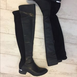 Black Leather Over the Knee Boots with Suede Back